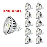 Xpeoo Pack de 10 unités 6W LED MR16 GU5.3 lumière du jour Ampoule Equivalente à une Halogène de...