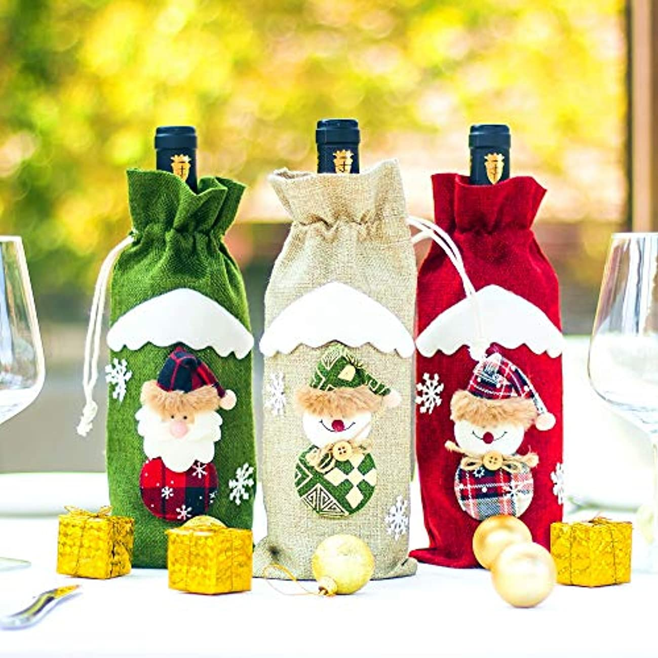 Rainbow Christmas Wine Bottle Covers Bags for Xmas Home Party Decorations Set of 3PCS 3D Design Handmade Gifts