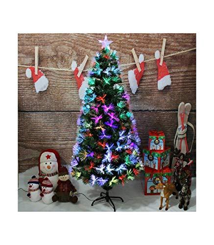 TradeShop - Albero di Natale in Fibra Ottica 60CM Verde Multicolori con Punta Stella A LED - 30776