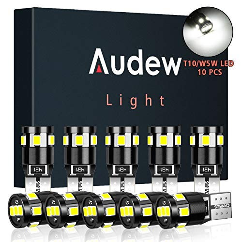 Audew T10 W5W LED CANBUS Auto Targa Lampade 9 x 2835SMD LED 12V 4882K Cuneo Tipo Lampadine Per Luce di Indicatore Laterale Replacement(Bianco 10pcs)