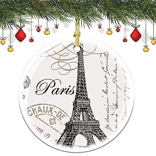 None-brands Modern Vintage Eiffel Tower Christmas Memory Tree Round Ornament, Ceramic Keepsake Decoration Ornament