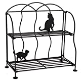 Lily's Home Cat Lovers Black Metal Countertop Wire Shelf Rack, Great for Household Items, Kitchen Organizer, Bathroom Storage and More. Foldable. 2-Tier