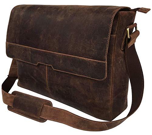 Vintage de cuero de la computadora portátil bolsas de mensajero para los hombres de cuero maletín de hombro bolso de hombre y mujer bolso, color Marrón, talla Large