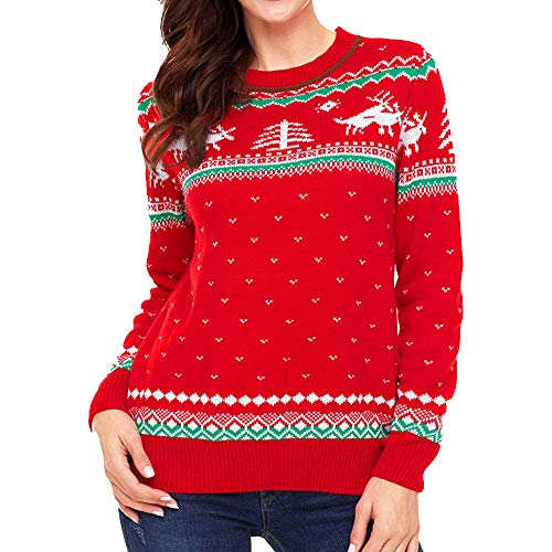Luckycat para Mujer de Punto Rudolf Renos Ladies Xmas Navidad Novedad Jumper suéter Top Negro Rojo