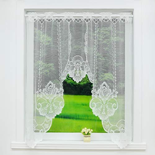 Scheibengardine C-Bogen Store Spitze-Jacquard Deko Gardine Stangendurchzug Fenster Vorhang Weiß Fertiggardine HxB 105x120cm Rosenblume Muster