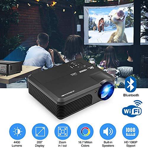 WiFi Projector met Upgrade Lux, Ondersteuning Full HD 1080P 50.000 Hrs Life Home Theater LED Video Projector met Bluetooth, Luidsprekers, Zoom, Compatibel met, Laptop, TV Stick voor Outdoor Movie