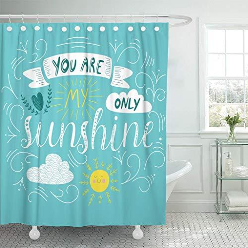 JOOCAR Design Duschvorhang, You Are My Only Sunshine Cute Doodling Buchstaben The, Wasserdichter Stoff Stoff Badezimmer Dekor Set mit Haken