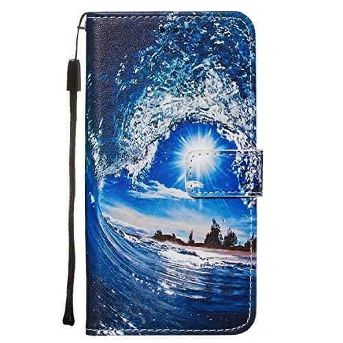 Nadoli Leder Hülle für Huawei P40 Lite,Bunt Welle Sonne Malerei Ultra Dünne Magnetverschluss Standfunktion Handyhülle Tasche Brieftasche Etui Schutzhülle