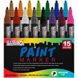 Water Based Premium Paint Pen Markers from U.S. Art Supply - 15 Color Set of Medium Point Tips - Permanent Ink - Works on Most Surfaces Glass, Wood, Metal, Rubber, Rocks, Stone, Arts & Crafts