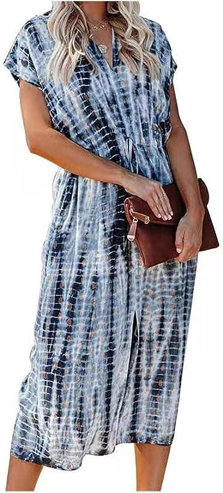 BEAUTYFOREVER Women's Boho V-Neck Midi Short Sleeve Tie Dye Casual Dress Not Including Belt