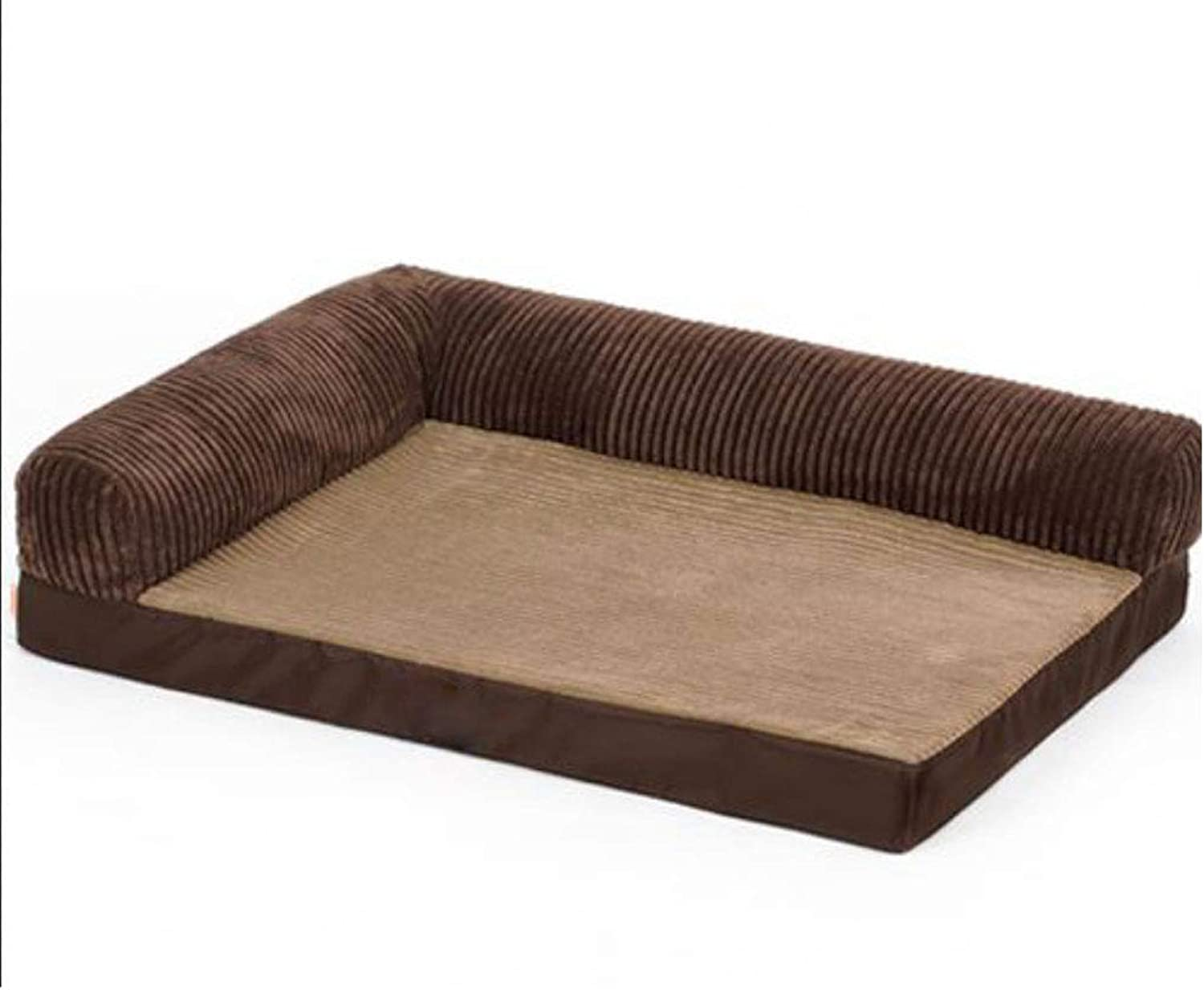 Dog Bed bluee Brown Doghouse Sofa Kennel Square Pillow Large Dog Cat Room Mattress Pet Supplies (color   B, Size   S)