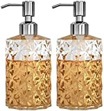 GLADPURE Soap Dispenser - 2 Pack, 12 Oz Clear Diamond Design Glass Refillable Hand Soap Dispensers; with 304 Rust Proof Stainless Steel Pump, Lotion Dispensers for Kitchen, Bathroom