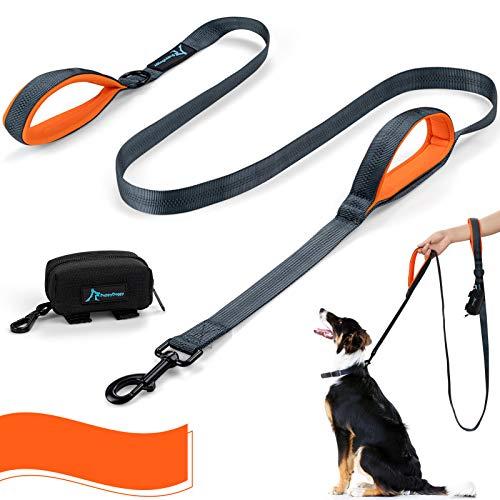 PuppyDoggy Hundeleine für große und mittelgroße Hunde 2 gepolsterten Griffen mit reflektierende Fäden und Kotbeutelspender 1,8 m (Orange)