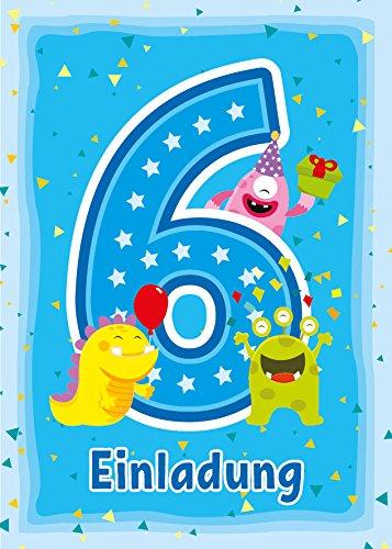 12 Einladungskarten zum 6. Kindergeburtstag blau / Einladungen zum sechsten Geburtstag / Bunte und lustige Karten zum Geburtstag für Mädchen und Jungen lustige Monster