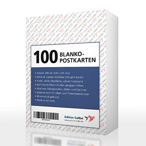 100 BLANKO-POSTKARTEN zum selbst gestalten und bedrucken von Edition Colibri: Postkarten-Set mit 100 Blanko-Karten in weiß, 250 g-Papier, für Drucker geeignet