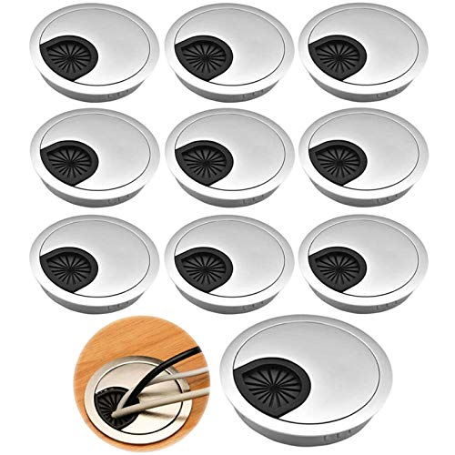 10 Stück Kabeldurchführungen Kabeldurchlass Schreibtisch Tülle Kabeldurchlass Kabeldose Kabelführung ABS Kunststoff Rundes Drahtloch für Büro Tabelle Schreibtisch Kabelorganisation - Silber