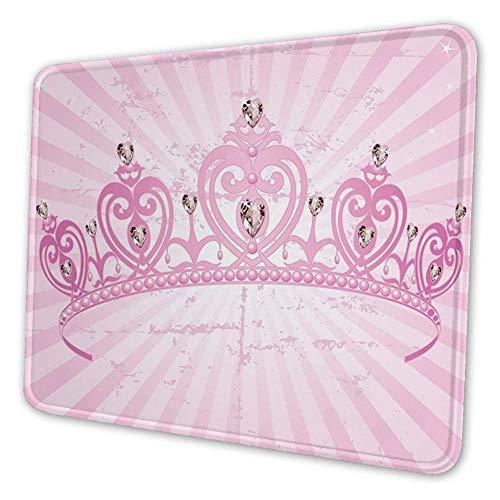 Rechteckige Mousemat Mousepad, Kindheitsthema Rosa Herz geformte Prinzessin Krone auf radialem Hintergrund Romantik