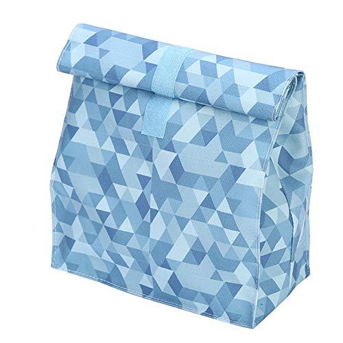 iKulilky Leinwand Kühltasche Klein Niedlicher Gedruckt,Lunchpaketbeutel,Faltbar Picknicktasche Isolierte Eisbeutel für Unterwegs Lebensmitteltransport - Dunkel Blau