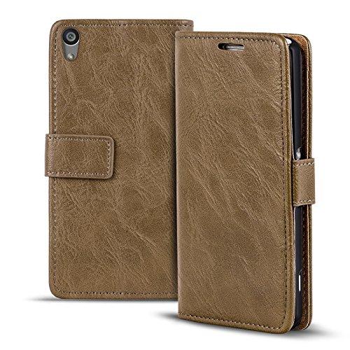 Verco Xperia Z5 Hülle, Premium Handy Schutzhülle für Sony Xperia Z5 Hülle PU Leder Wallet Tasche Retro Flipcase, Mocca