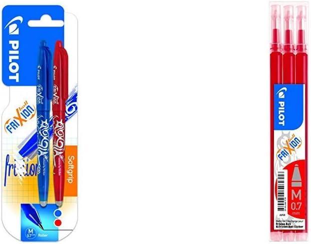 Pilot Spain Frixion Ball Bolígrafo borrable, 2 unidades, color azul y rojo + Set de 3 Recambios para Frixion Ball y Clicker, punto medio Rojo: Amazon.es: Oficina y papelería