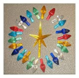 25 Replacement Ceramic Christmas Tree medium Twist Light Bulbs 1 Yellow Star