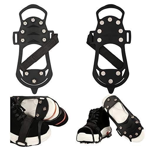 FORMIZON Schuhkrallen, Schuhspikes, Spikes für Schuhe mit 10 Spikes, Anti-Rutsch-Spikes Schuhkrallen für Damen und Herren Schuh Spikes für Bergsteigen Trekking (L 39-46)