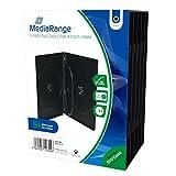 MediaRange BOX35-4 Funda para Discos ópticos Funda de DVD 4 Discos Negro - Fundas para Discos ópticos (Funda de DVD, 4 Discos, Negro, De plástico, 120 mm, 136 mm)