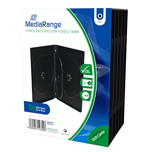 MediaRange DVD-Leerhülle für 4 Discs, 14mm, schwarz, 5er Pack