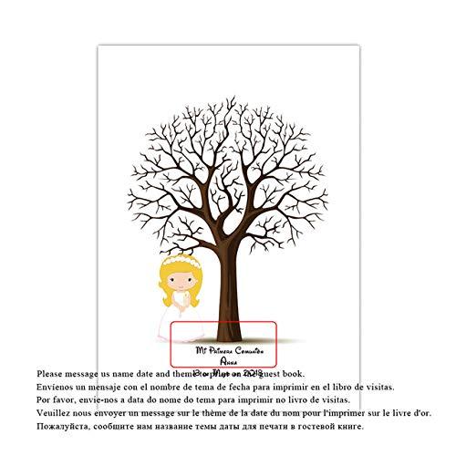 Nombre personalizado personalizado gratuito Fecha Huella digital DIY Firma Árbol para bebé...