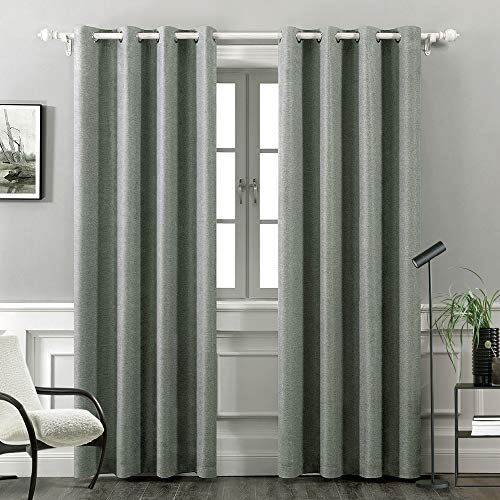 MIULEE Thermal Insulated Linen Curtain for Living Room Darkening Farmhouse Grommet Textured Window Blackout Drape Light Block Out Curtains for Bedroom 1 Panel W 52 x L 72 Inches Grey