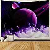 Generleo Galaxy Space Tapestry Psychedelic Planets Wall Tapestry Starry Sky Tapestry Purple Nebula Clouds Tapestry Mystic Cosmic Universe Tapestry Wall Hanging for Bedroom