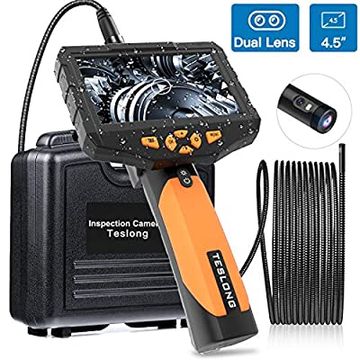 Teslong Inspection Camera 8MM, Industrial Endoscope-Borescope, 16.4 ft Cable, 6 LED Lights with Dual Lens, 1080P HD Image, 4.5 Inches Display Screen, 32 GB Card, IP67 Waterproof, Tempered Glass