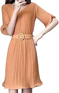半袖 五分袖 レディース ワンピース プリーツスカート Aライン ベルト付き ピンク カーキ L LL 3L 4L 5L 大きいサイズ