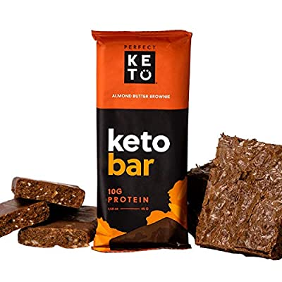 Perfect Keto Protein Snacks - Box of 12 Bars - Low Carb Diet Friendly with Coconut Oil, Collagen, No Added Sugar - Sweet Treat - Individual Packs for Travel, Hiking