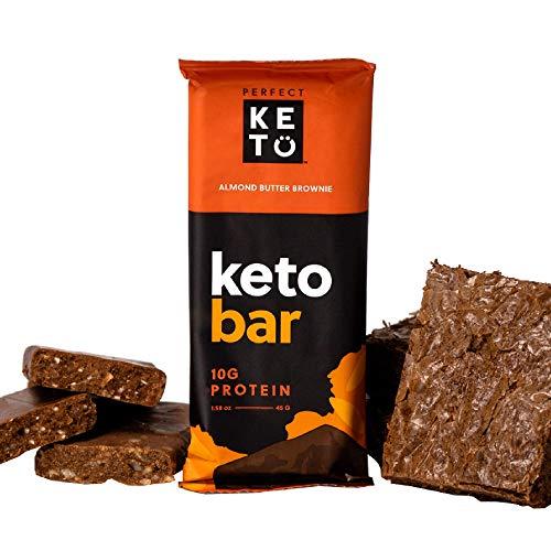 Perfect Keto Bar Almond Butter Brownie – Box mit 12x45g Riegeln – Low Carb Diät-freundlich mit Kokosöl, Kollagen, ohne Zucker – Süße Leckereien – Einzelpackungen für Reisen, Wandern
