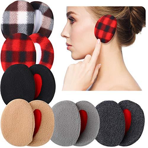 6 Pairs Earmuffs Bandless Fleece Ear Warmers Winter Ear Covers Unisex, 6 Colors (Pure Color, Plaid Color)