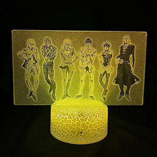 3D LED Anime Night Light Illusion Neon Sign USB Touch & Remote Control 16 Colors Home Decor for Kids Lamp Christmas Gift Birthday Lamps Jojo's Bizarre Adventure Golden Wind