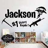 yaonuli Stickers muraux personnalisés Jeu Stickers muraux décoration familiale Chambre d'enfants personnalisé nom Motif Amovible 68X31 cm