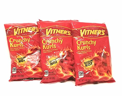 Vitner's Sizzlin' Hot Cheese Crunchy Curls 5 Pack 1oz Bags A Chicago Original
