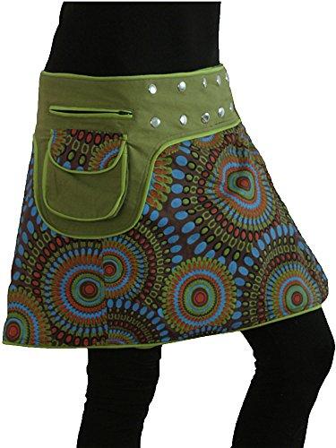 Leucht-Welten Damen Wickelrock Baumwolle Rock mit Tasche sk1 Design 1 Einheitsgröße verstellbar