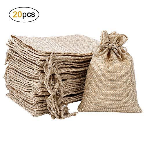 MaoXinTek Jutesäckchen Baumwolle Säckchen mit Kordelzug, Klein Geschenk-säckchen für Schmuck Hochzeit Party Weihnachte DIY Handwerk, 20 Stück, 10x13,5cm