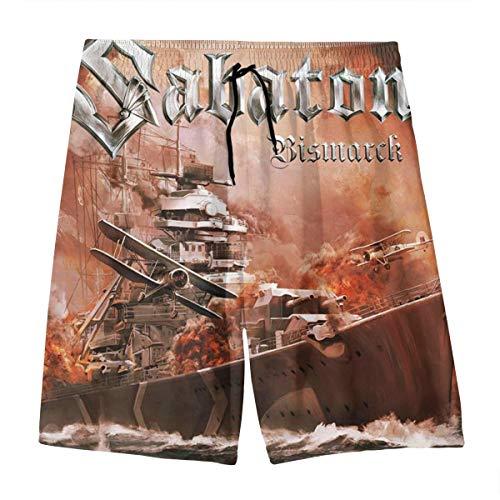WRXSaton Sabaton Bismarck Square Jungen Teens Quick Dry Strand Badehose Boardshorts Kordelzug Elastische Taille Mit Taschen M (10-12)