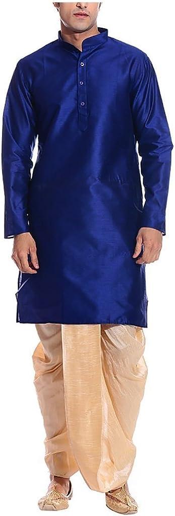 Royal Men's Silk Blend Dhoti & Kurta Set Blue