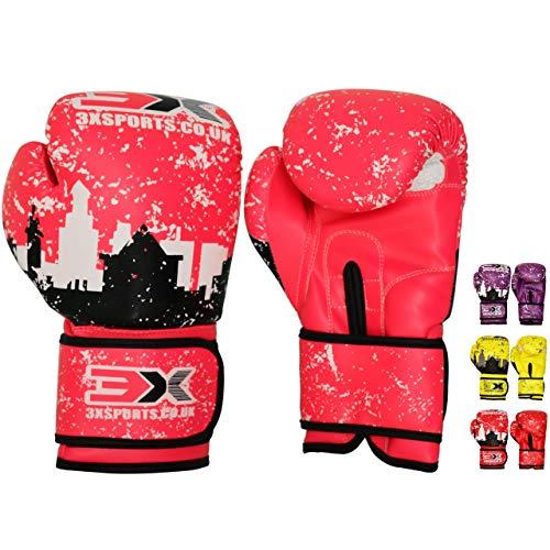 3X Professional Choice Kinder Boxen Handschuhe 4oz 60z Boxen Handschuhe Juniorin zum Ausbildung & Muay Thai – Maya Ausblenden Leder MMA Handschuhe zum Sparring Kampf Kickboxen Schlagen