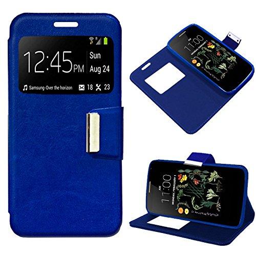 iGlobalmarket Funda Flip Cover Tipo Libro con Tapa para LG K5 Liso Azul
