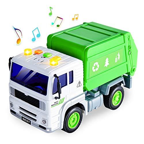 HERSITY Müllauto Spielzeug Müllwagen Kinder Gross mit Lichtern und Sound LKW Kinderspielzeug Geschenk für Kinder Jungen 3 Jahre, 1:20 Müll Autos