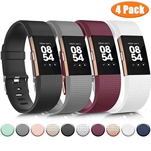 Wanme Kompatibel mit Fitbit Charge 2 Armband, Verstellbare Weiches Silikon Sport Ersatzarmband Kompatibel für Fitbit Charge 2 (02 Black/Gray/Wine Red/White, Small)
