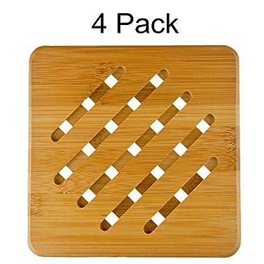 MelonBoat 4 Pack Bamboo Trivet Mat Set, Heavy Duty Hot Pot Holder Pads, 7  Square