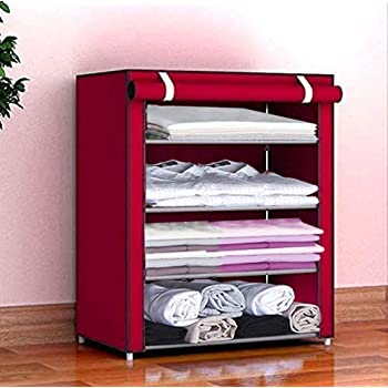 Keekos® Fancy and Portable Foldable Collapsible Closet/Cabinet Collapsible Wardrobe Organizer, Multipurpose Storage Rack for Kids and Women, Clothes Cabinet, Bedroom Organiser_6 Layer Pink