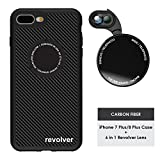 Ztylus Designer Revolver M Series Camera Kit: 6 in 1 Lens with Case for iPhone 7 Plus / 8 Plus, iPhone Lens Kit - 2X Telephoto Lens, Macro, Super Macro Lens, Wide Angle Lens (Carbon Fiber)